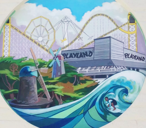 Murals by Bryana Fleming seen at Safeway, San Francisco - Playland