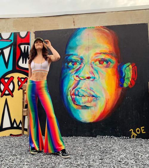 Murals by Zoe Rose seen at Brooklyn Beer Garden, Brooklyn - JAY Z