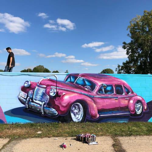 Street Murals by J MUZACZ seen at Flint, Flint - Pink Car Mural