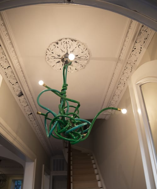 Chandeliers by Justin Cooper Studios seen at Private Residence, Brooklyn - Garden hose chandelier