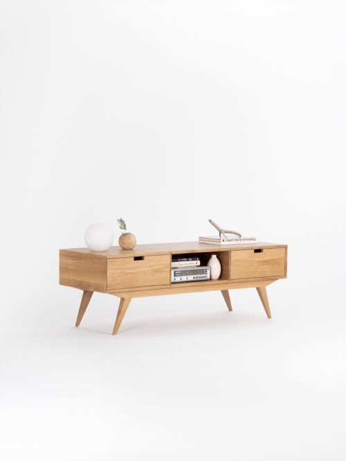 Furniture by Mo Woodwork seen at Stalowa Wola, Stalowa Wola - Media console, TV stand record player made of solid oak wood
