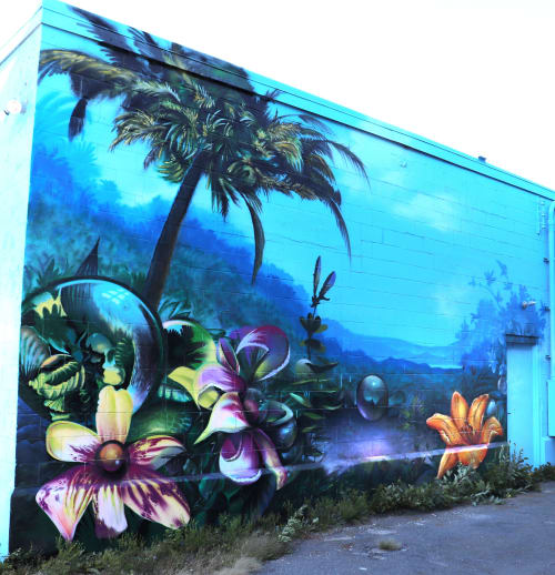 "Murals by Jared Goulette | The Color Wizard seen at Brewery Extrava, Portland - Brewery Extrava exterior Mural ""Alley Art""; The Tropical Mystic Orb Garden"