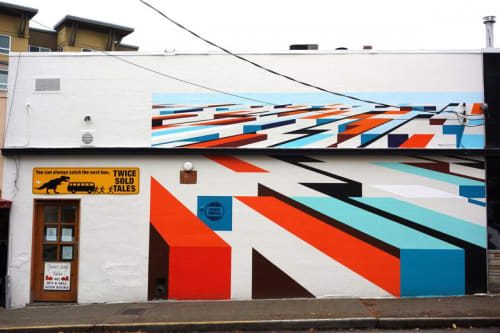 Street Murals by Mary Iverson at Bauhaus Ballard, Seattle - Shop Small Mural Program - Ballard