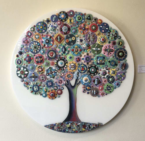 Art & Wall Decor by Cami Levin seen at Private Residence, New York - Crystal Kaleidoscope - Round Tree of Love