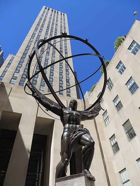 Public Sculptures by Lee Lawrie seen at Rockefeller Plaza, New York, New York - Atlas