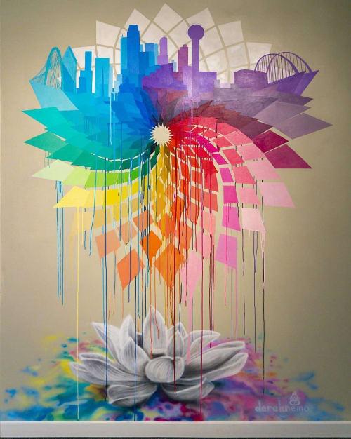 Murals by Derek Nemunaitis seen at Black Swan Yoga Bishop, Dallas - Dallas Mural for Black Swan Yoga, Bishop Arts