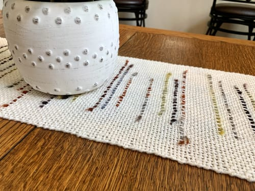 Tableware by IvyWoven| Handwoven Decor & Accessories by Lindsey Willman seen at Private Residence, San Diego - A Smile Like Yours; Saori Table Runner