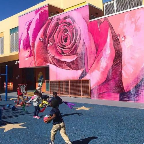 Murals by Nicole Holderbaum (Nico) seen at Santa Clara Elementary School, Miami - Queen of the Flowers