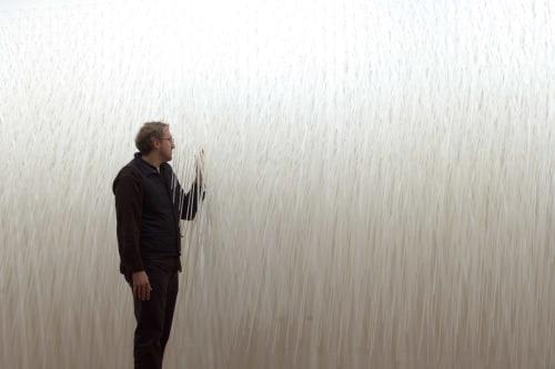 Sculptures by Cardoso Studio seen at Chelsea Art Museum, New York - RAIN WALL
