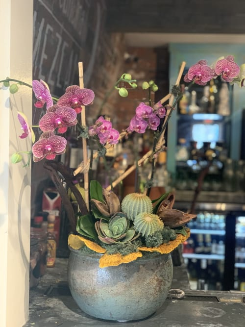 Floral Arrangements by Fleurina Designs at LUNA Mexican Kitchen - The Alameda, San Jose - Vibrant orchid arrangement