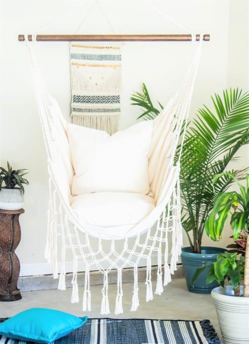 Furniture by Limbo Imports Hammocks seen at Atlanta, GA, U.S., Atlanta - Natural Off White Macrame Hammock Chair + 2 Pillows