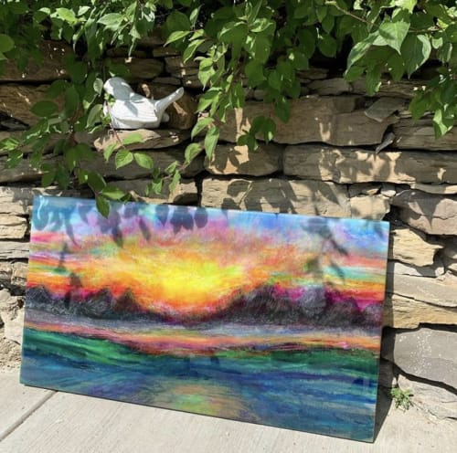 Paintings by Michele Donohue Art seen at Private Residence, Airdrie - Sunset in the Rockies