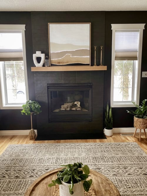 Fireplaces by Cask Woodworking seen at Private Residence, Edmonton - White Oak Box Mantle