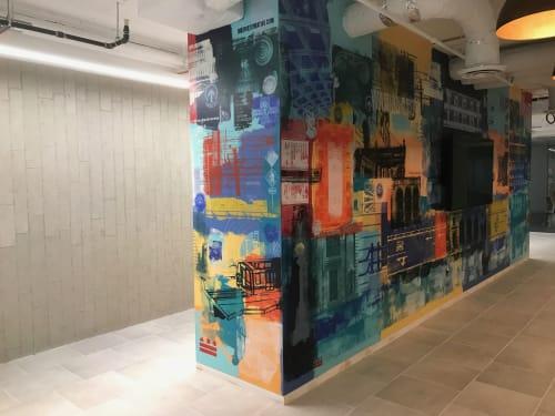 Murals by Michael Crossett seen at Met Square, Washington - Metropolitan Square