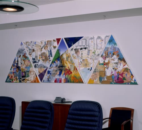 Murals by Trena McNabb seen at Banner Pharmacaps Inc, High Point - Bridging the World