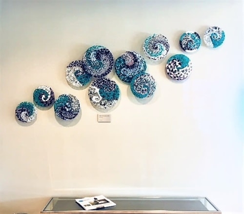 Sculptures by Elijah Kell, @10 STUDIO GLASSWORKS, LLC seen at Residence Inn by Marriott Charlotte City Center, Charlotte - Art Glass Wall Installation