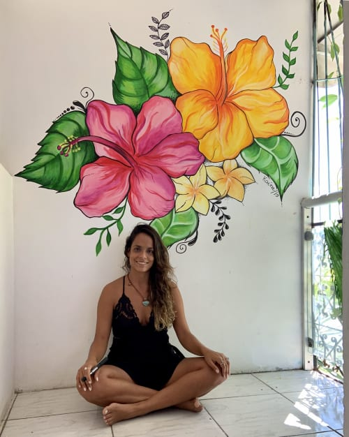Murals by Kaína Morais seen at Private Residence, Olinda - Hibiscus flower