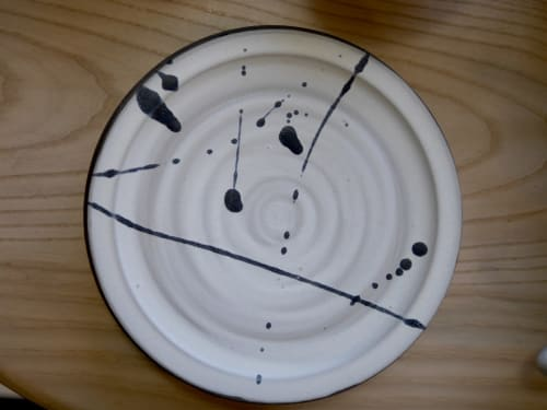 Ceramic Plates by Erin Hupp Ceramics seen at Wescover Gallery at West Coast Craft SF 2019, San Francisco - Ink Splatter Plate