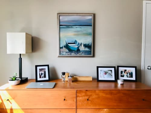 Paintings by rebecca jacob seen at Private Residence, Washington - Boat sunset scene oil painting
