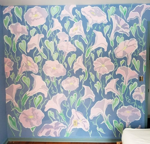 Murals by Kit Collins seen at Private Residence, Averill Park - Morning Glory Mural
