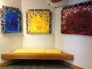 Paintings by Judith Joseph seen at Westmoor Elementary School, Northbrook - Relationships Triptych