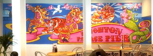 Murals by Dave Pop Art seen at Palace Pier (Stop N), Brighton - Brighton Palace Pier Mural
