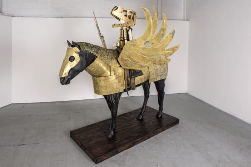 Sculptures by Joshua Goode seen at Joshua Goode Studio, Dallas - Pegasus Armor, Horse and Rider