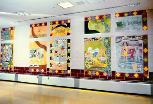 Murals by Josie Gonzalez seen at Public School 54, Bronx - Building a Community of Learners