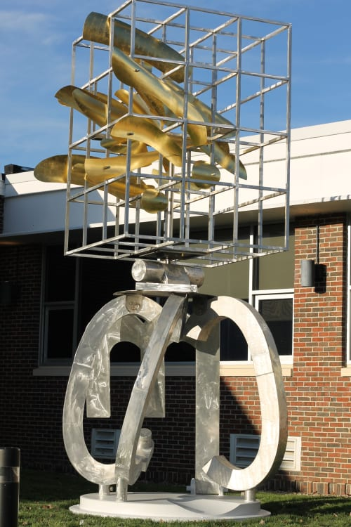 "Public Sculptures by James Strickland seen at Central Maine Community College, Auburn - ""KAIROS"" (Greek for a special moment in time)"