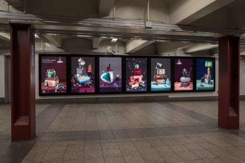 """Photography by Jeanette May seen at 42 St-Bryant Park Station, New York - """"Tech Time Capsule,"""" Lightbox Installation"""