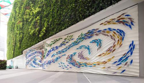 "Public Sculptures by Art Glass Solutions seen at Ocean Financial Centre, Singapore - ""Complex Simplicity"""
