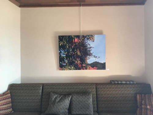 Paintings by June Yokell seen at Community Congregational Church, Tiburon - Berries, Hills and Sky