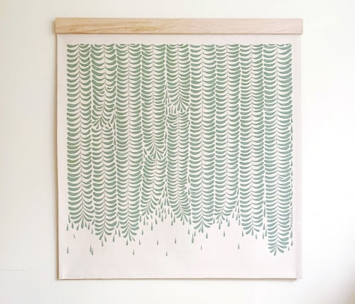 """Paintings by Anastasia Tumanova seen at Private Residence, San Francisco - Fern Canyon Tapestry 50x50"""" Maple Beam"""