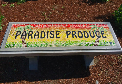Plants & Landscape by Rochelle Rose Schueler - Wild Rose Artworks LLC seen at Paradise Produce, Bend - Seat in Paradise - inlaid glass mosaic concrete bench