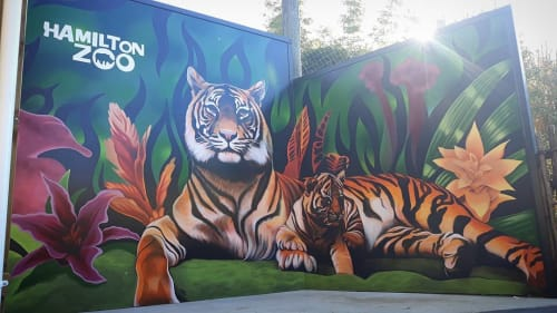 Murals by Jeremy Shirley seen at Hamilton Zoo, Hamilton - Tiger mural