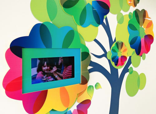 Murals by Virginia Fleck seen at University Hospital - University Health System, San Antonio - Tree Whimsy