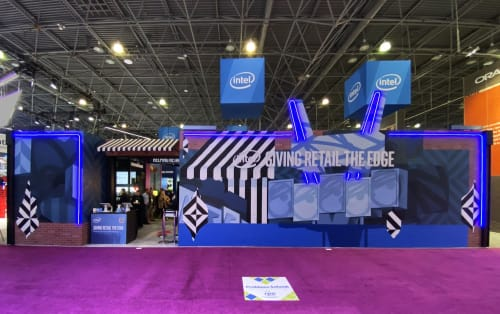 Murals by TRAV seen at Jacob K. Javits Convention Center, New York - Conductive mural