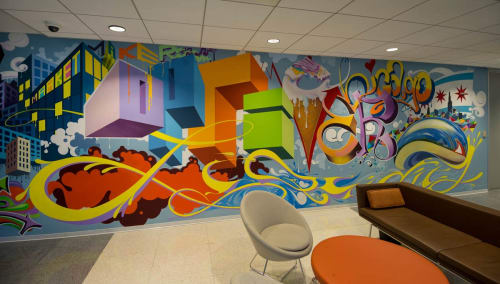 Murals by Gregory Gove seen at Optiver US LLC, Chicago - Optiver US Corporate Headquarters Mural