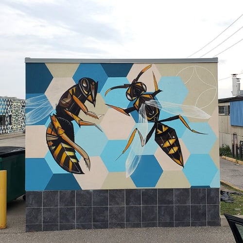 Street Murals by Peru143 seen at 700 Caledonia Rd, Toronto - BLUEPRINT, 2019