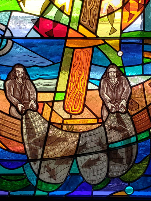 Interior Design by Warren Simmons seen at Southminster Presbyterian Church and Southminster School, Missouri City - Fishers of men sanctuary window