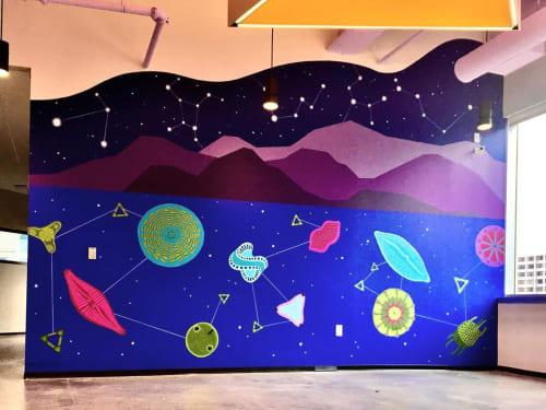 Murals by Eurhi Jones seen at Cambridge Innovation Center (CIC), Philadelphia - Constellations and Plankton