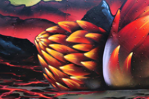 Street Murals by Jared Goulette | The Color Wizard seen at Portland Fitzpatrick Stadium, Portland - Dragon Eggs Mural