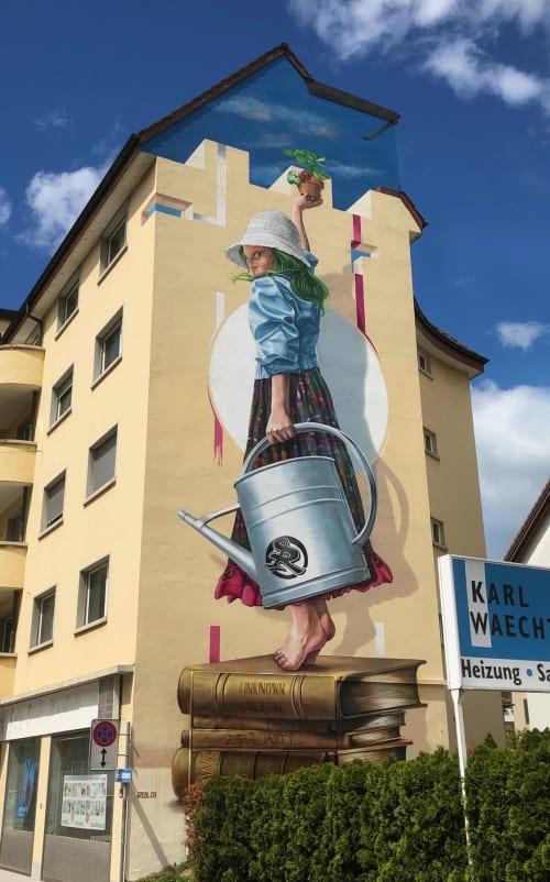 Murals by Redl seen at Forchstrasse 41, Zürich - Lucia