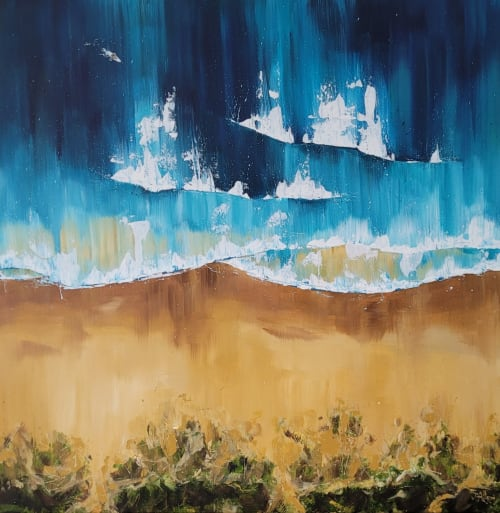 Paintings by Jo Allum seen at Private Residence, Woolacombe - Aerial ocean