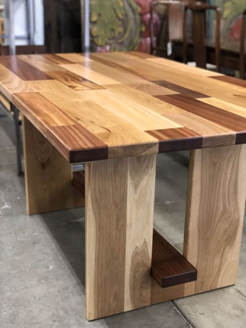 Tables by Black Rose WoodCraft seen at Portland, Portland - Mixed Hardwood Patchwork Table