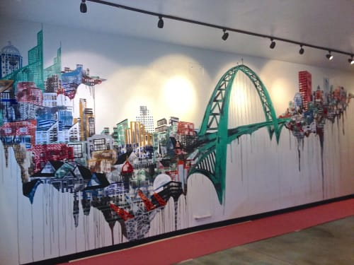 Murals by Ursula Barton at Pacific Green, Portland - Fremont Bridge Mural