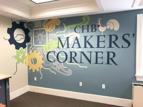 Murals by Toni Miraldi / Mural Envy seen at Cyrenius H Booth Library, Newtown - CHB Maker's Corner