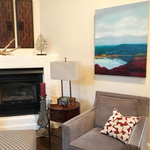 Paintings by Debbi Smith Rourke seen at Private Residence, Orange - Early Morn Lake View