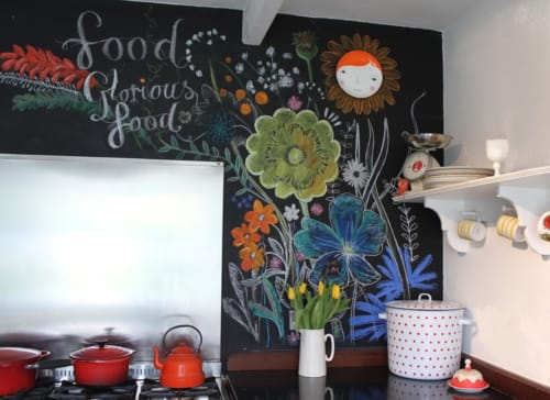 Murals by Jane Cabrera seen at Private Residence, Ashburton - Floral Blackboard Art