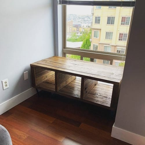 "Furniture by Shaun Lambert seen at Private Residence, Brooklyn - Custom ""Booker"" Media Console/Bench"